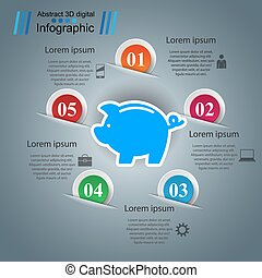 argent, infographic., -, business, cochon