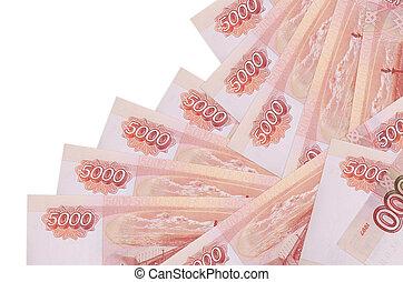 argent, isolé, factures, banque, local, concept, 5000, confection, mensonges, différent, rubles, russe, ordre, white., ou
