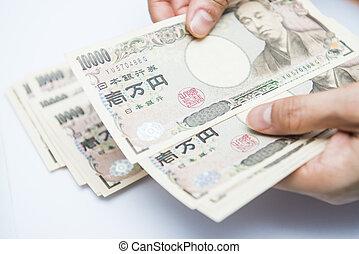 argent, japonaise, billets banque, femelle transmet, dénombrement