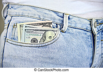 argent, jean, poche