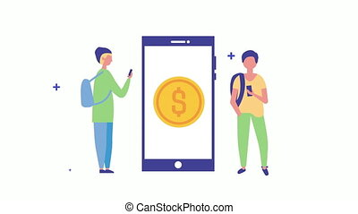 argent, jeune, monnaie, utilisation, smartphone, hommes