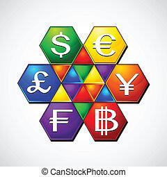 argent, la, signe, illustration, flot travail