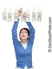 argent, ligne, femme, joli, pend