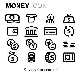 argent, ligne, vecteur, ensemble