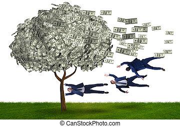argent, loin, homme affaires, arbre, soufflé