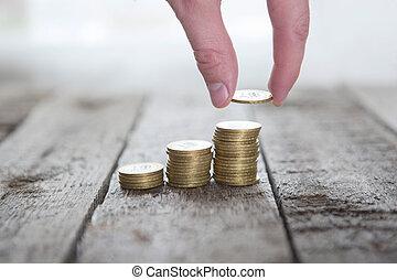 argent, mâle, mettre, monnaie, main