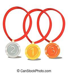 argent, médaille, bronze, or