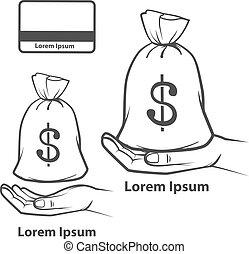 argent, main carte