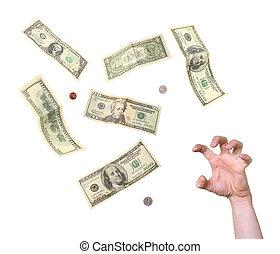 argent, main, désespéré, gourmandes, atteindre