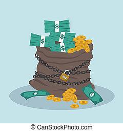 argent, main, deposit., making., financials., bag., banque