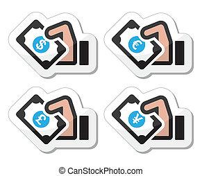 argent, -, main, dollar, icône, euro