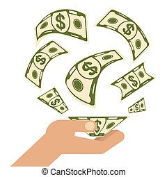 argent, main
