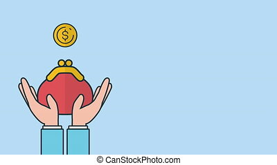 argent, mains, pièces, levage, portefeuille