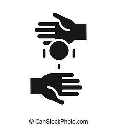 argent, mains, portion, donation, volontaire, style, charité, silhouette, social, icône, donner