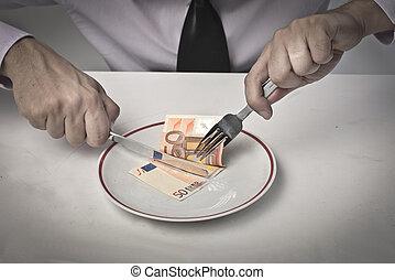 argent, manger