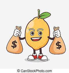 argent, mascotte, citron, tenue, fruit, dessin animé, caractère, sacs