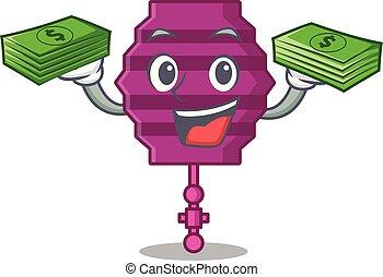 argent, mascotte, papier, dessin animé, lanterne