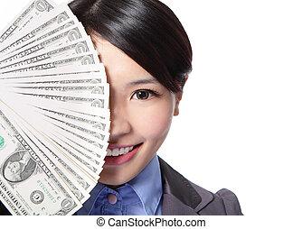 argent, moitié, affaires femme, figure
