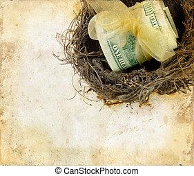 argent, nid, grunge, fond
