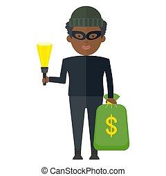 argent, noir, voleur, sac