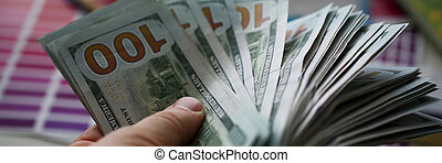 argent, nous, main, gros homme, grand, prise, meute