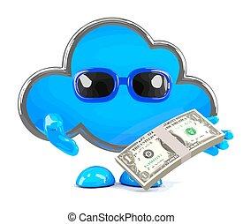 argent, nuage, 3d
