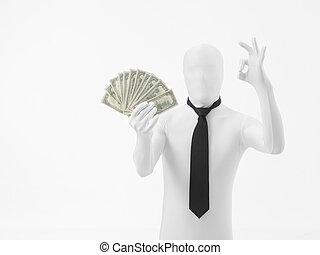 argent, oui, saing, homme affaires
