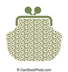 argent, papier, portefeuille, icône