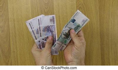 argent, papier, rubles., russe, dénombrement, homme