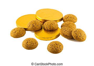 argent, pepernoten, chocolat