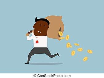 argent perdant, homme affaires, dessin animé, sac