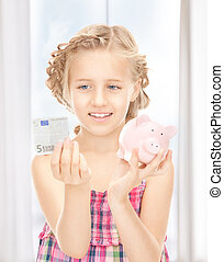 argent, peu, banque, porcin, girl