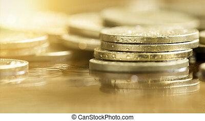 argent, pièces, -, business, reussite