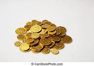 argent, pièces, chocolat