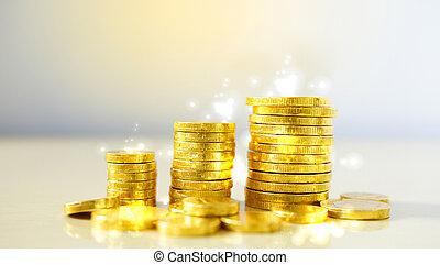 argent, pièces., concept, croissance, business