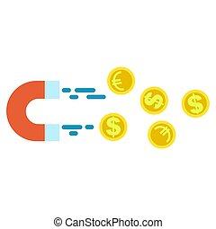 argent, pièces, dollar, aimant, attirer, euro