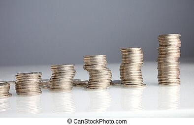 argent, pièces, piles