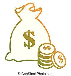 argent, pièces, sac