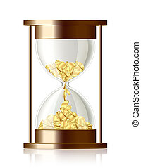 argent, pièces, -, vecteur, temps, sablier