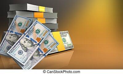argent, pile, 3d