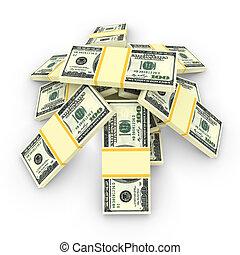 argent, pile, isolé, sur, white., finance, concepts