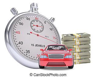 argent, pile, minuteur, voiture