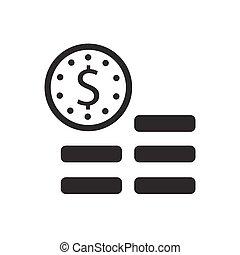 argent, piles, icône