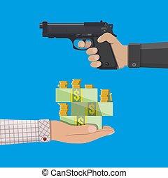 argent, pistolet, voleur, tenant main