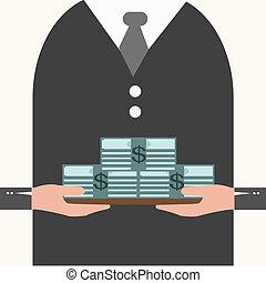 argent, plateau, tenue, homme affaires