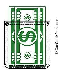 argent poche, contour