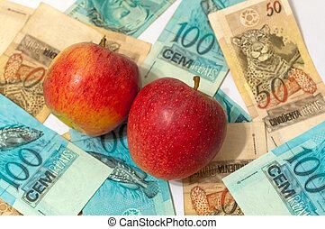 argent, pomme