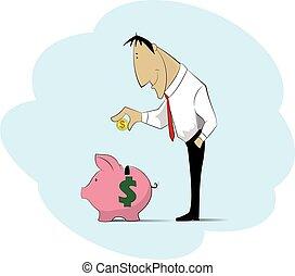 argent, porcin, bank., homme, ramassage