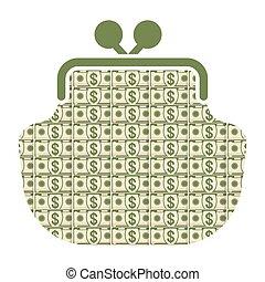 argent, portefeuille, icône