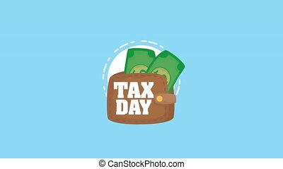 argent, portefeuille, jour, animation, impôt